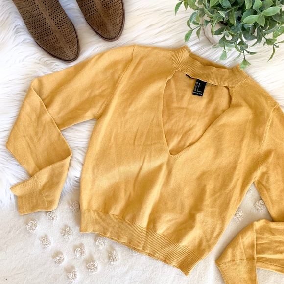 Forever 21 Tops - F21 Mustard Long Sleeve Crop Top